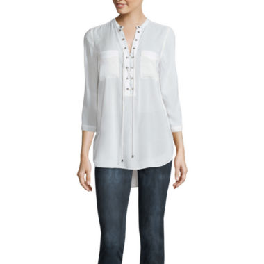 jcpenney.com | a.n.a® 3/4-Sleeve Lace-Up Blouse - Petite