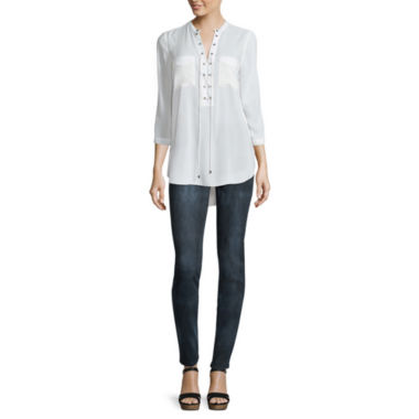 jcpenney.com | a.n.a® 3/4-Sleeve Lace-Up Blouse or Skinny Jeggings