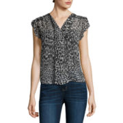 a.n.a® Flutter-Sleeve Popover Blouse - Petite