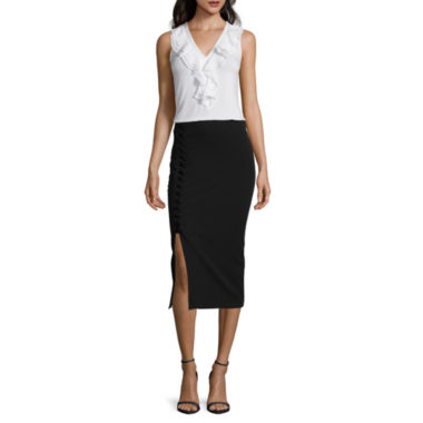 jcpenney.com | Worthington® Sleeveless Grommet-Yoke Top or Side Lace-Up Pencil Skirt