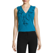 Worthington® Sleeveless Ruffle V-neck Top