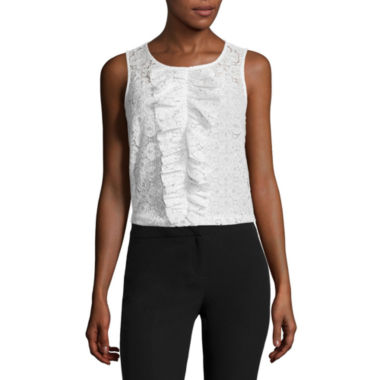 jcpenney.com | Worthington® Sleeveless Lace Ruffled Blouse - Tall