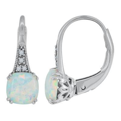 Fine Jewelry Lab-Created Opal 14K Yellow Gold Pear Drop Earrings fLQ7IX
