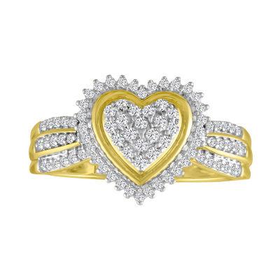 Fine Jewelry Womens 1/3 CT. T.W. White Diamond 10K Gold Cocktail Ring Y2oUvZHKg
