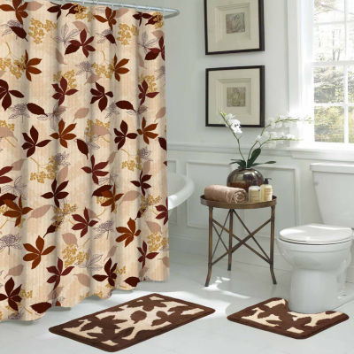 Blowing Leaves 15 Pc Shower Curtain Set