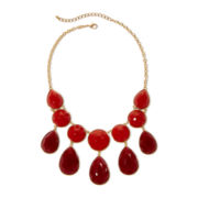 Gold-Tone Red Tonal 2-Row Bib Necklace
