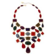 Liz Claiborne Gold-Tone Multicolor Stone Drama Bib Necklace