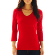 St. John's Bay® 3/4-Sleeve V-Neck Top