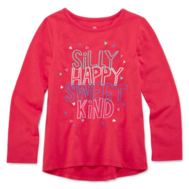 jcpenney.com | Okie Dokie® Long-Sleeve High-Low-Hem Graphic Tee - Toddler Girls 2t-5t