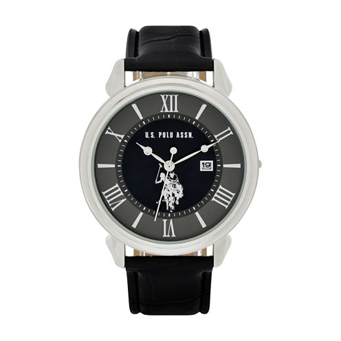 U.S. Polo Assn. Mens Black Strap Watch-Usc50405