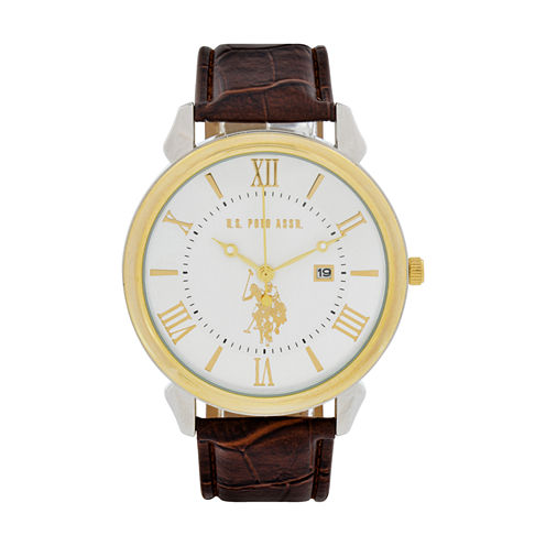 U.S. Polo Assn. Mens Brown Strap Watch-Usc50407