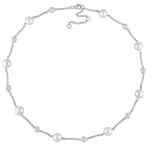 White Pearl Sterling Silver Beaded Necklace