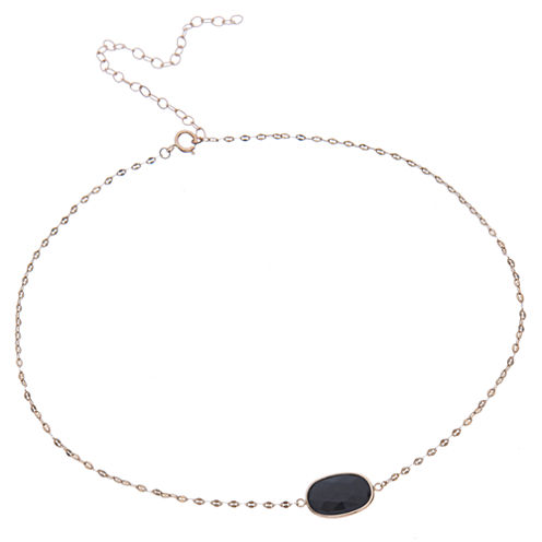 Womens Black Onyx 10K Gold Pendant Necklace