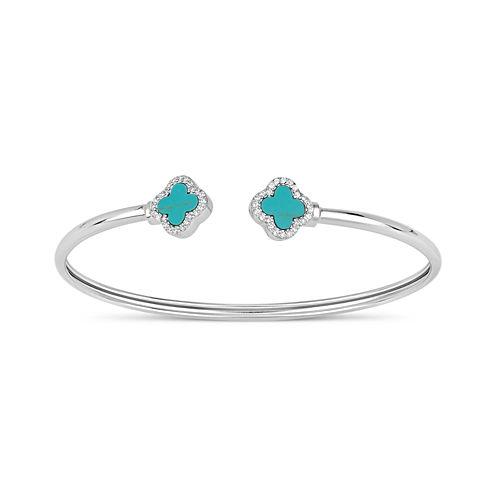 Womens Blue Turquoise Sterling Silver Bangle Bracelet