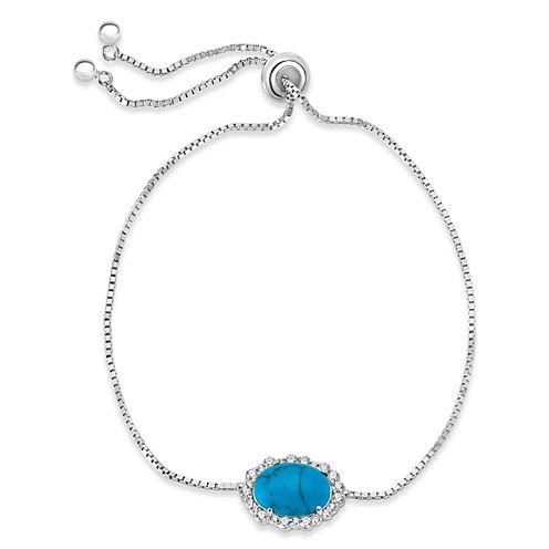 Womens Blue Turquoise Sterling Silver Bolo Bracelet