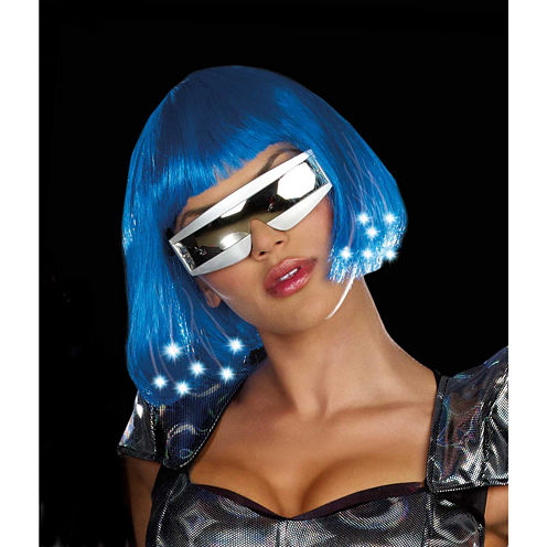 Intergalactic Light Up Blue Adult Wig - One-Size
