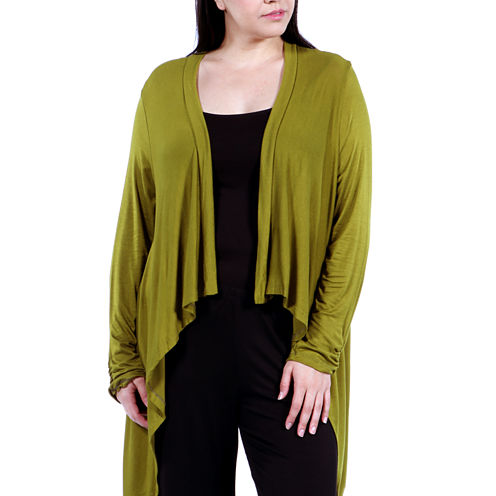 24/7 Comfort Apparel High-Low Shrug Cardigan Plus
