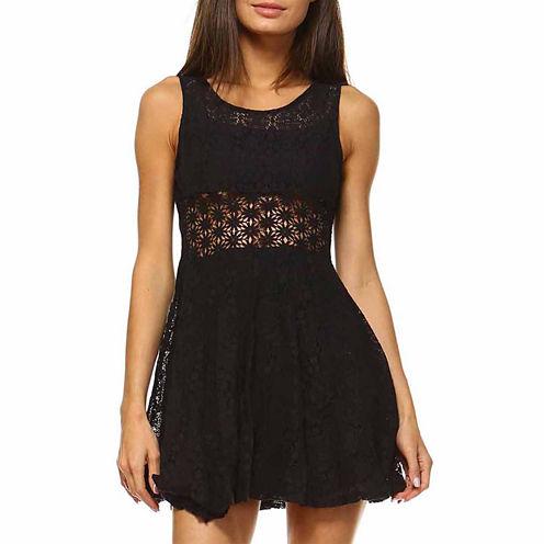 White Mark Crochete Lace Insert Fit & Flare Dress