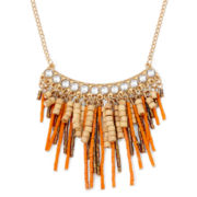 Decree® Wood and Crystal Fringe Necklace