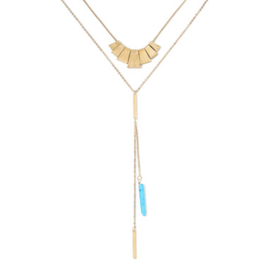jcpenney.com | Decree® 2-pc. Aqua Stone Lariat and Gold-Tone Layered Pendant Necklace Set