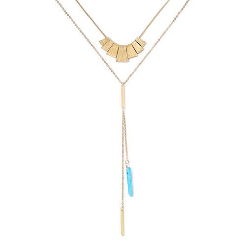 Decree® 2-pc. Aqua Stone Lariat and Gold-Tone Layered Pendant Necklace Set