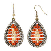 Decree® Crystal and Seed Bead Teardrop Earrings