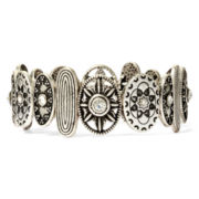 Arizona Crystal Textured Silver-Tone Stretch Bracelet