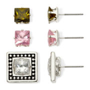 Sensitive Ears Cubic Zirconia 3-pr. Interchangeable Square Stud Earring Set