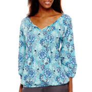 St. John's Bay® 3/4-Sleeve Knit Peasant Top - Tall