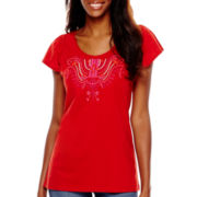 St. John's Bay® Flutter-Sleeve Embroidered Top - Tall