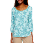 St. John's Bay® 3/4-Sleeve Popover Peasant Top - Tall