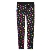 Capelli of New York Fleece-Lined Heart-Print Leggings - Girls 7-14