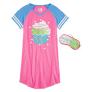 Sleep On It Sparkle Sleep Shirt and Mask - Girls 7-14