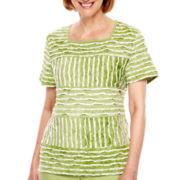 Alfred Dunner® Key Largo Short-Sleeve Spliced Striped Top - Petite