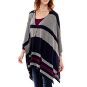 Stylus™ Striped Poncho Sweater- Petite