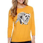 Stylus™ 3/4-Sleeve Graphic Intarsia Sweater