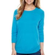 Stylus™ 3/4-Sleeve Curved Hem Sweater
