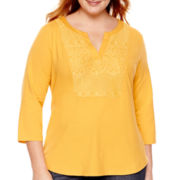 St. John's Bay® 3/4-Sleeve Lace-Bib Knit Top - Plus