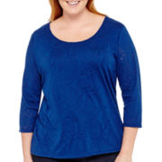 St. John's Bay® 3/4-Sleeve Burnout Paisley Print Top - Plus