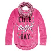 Self Esteem® Long-Sleeve Burnout Tee and Scarf - Girls 7-16 & Plus