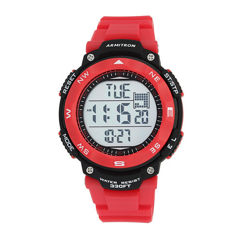 Armitron Mens Red Strap Watch-40/8254red