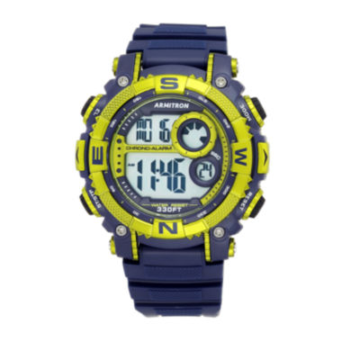 jcpenney.com | Armitron® Mens Pro Sport Navy And Lime Green Digital Strap Watch 40/8284NVLG