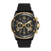 Bulova® Mens Black And Gold-Tone Marine Silicone Strap Watch 98B278