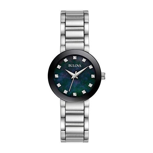 Bulova Womens Silver Tone Bracelet Watch-96p172