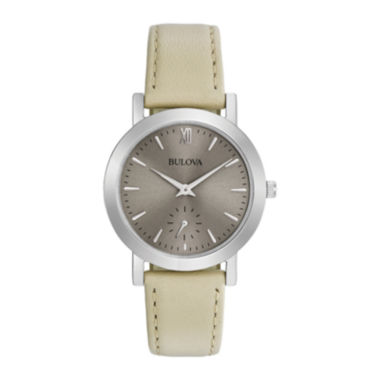 jcpenney.com | Bulova® Womens Taupe And Gray Classic Leather Strap Watch 96L233
