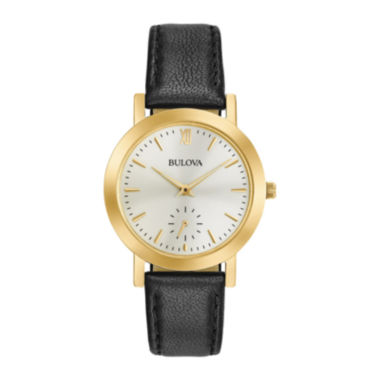 jcpenney.com | Bulova® Womens Gold Tone And Black Classic Leather Strap Watch 97L159