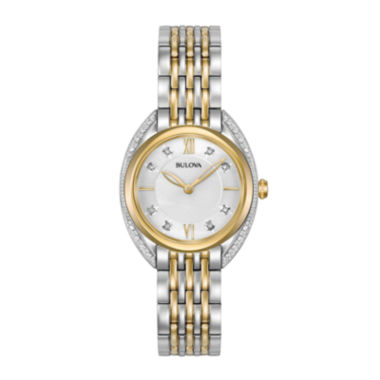 jcpenney.com | Bulova® Womens Two Tone White Dial Diamonds Collection Bracelet Watch 98R229