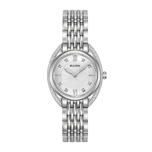 Bulova Womens Silver Tone Bracelet Watch-96r212