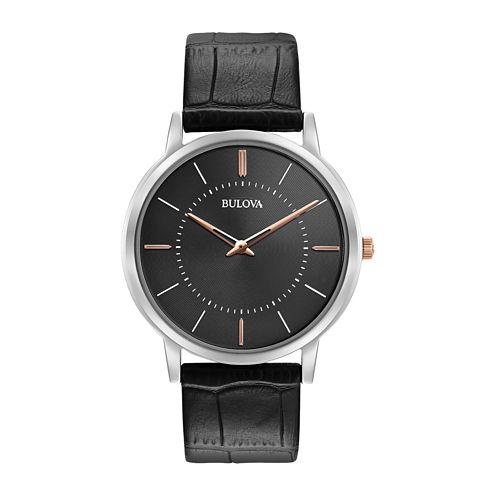 Bulova® Mens Silver Tone And Black Classic Ultra Slim Leather Strap Watch 98A167