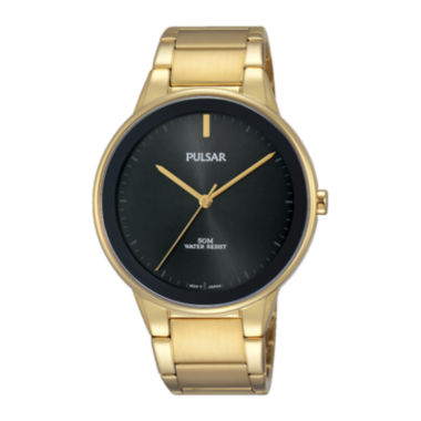 jcpenney.com | Pulsar® Men's Gold-Tone Black Dial Bracelet Watch PG2046
